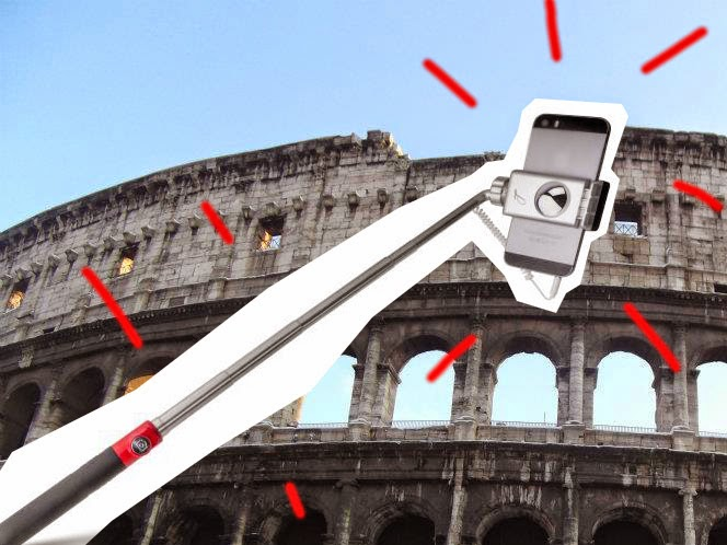 colosseum and selfie stick